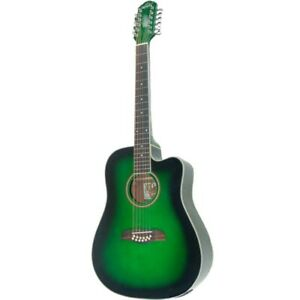 Oscar Schmidt OD312CETGR 12-String Acoustic Electric Guitar, Transparent Green