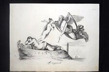 Incisione d'allegoria e satira Rinascita della Repubblica,Roma Don Pirlone 1851