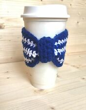 Crochet Bow Cup Cozy, Coffee sleeve, Eco-Friendly Handmade, Blue & White