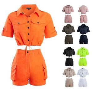 Shelikes Womens Cargo Crop Top Co ord Festival Tie Front Shorts Pocket Set