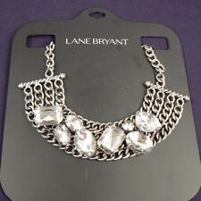 Lane Bryant Necklace Silver Chainmail Chunky Rhinestone Bib Statement