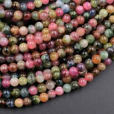 """Natural Watermelon Pink Green Tourmaline Round Beads 4mm Colorful 16"""" Strand"""