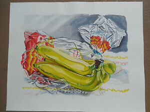 """Janet Fish """"Bag of Bananas"""" 1996 Hand Signed & Numbered  !!! A Beauty !!!!"""