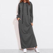 Autumn Winter Casual Long Sleeve Hooded Long Maxi Dress Loose Hoodies Sweatshirt