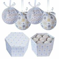14pc Frosted Design Decoupage Baubles Christmas Decorations Set White And Gold