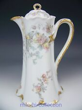 HAVILAND SCHLEIGER #235 PINK GRAY BLUE ROSES FORGET ME NOT FLOWERS CHOCOLATE POT