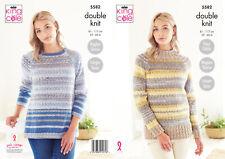 Knitting Pattern Womens Raglan Sleeve Sweater Jumper King Cole Double Knit 5582