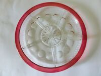 King's Crown Ruby Thumbprint Divided Dish, Serving Plate with Flashed Red Rim