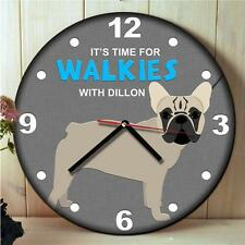 Personalised Fawn French Bulldog Kitchen Walkies Round Hanging Wall Clock Gift