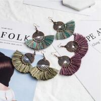 Fashion Bohemian Boho Big Round Long Tassel Dangle Women's Earrings Jewellery
