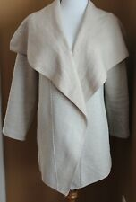 ADRIENNE VITTADINI White Beige Herringbone Wool Cardigan Sweater L Shawl