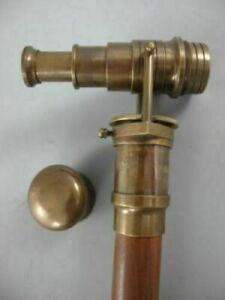 Vintage Solid Brass antique telescope Head Handle Wooden Walking Stick Cane gift