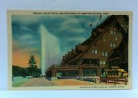 Wyoming Yellowstone National Park Old Faithful Inn & Geyser Linen Postcard