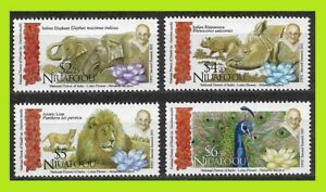 Niuafo'ou 2016 Gandhi And Animals Of India - Complet Series 4 Stamps - MNH
