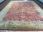 10' X 14' Hand Made India Agra Larastan Wool Rug Floral Hand Knotted Red Beauty