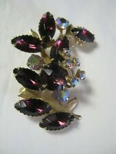 VINTAGE PIN BROOCH LEAF DESIGN WITH AMETHYST AND AURORA BOREALOUS STONES