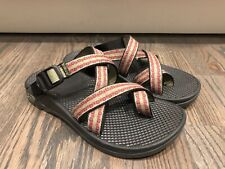 CHACO ZONG Womens Size 7 Pink Green Slip on Sandals Toe Loop Slide EUC!