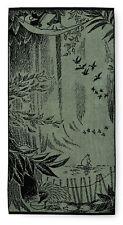 Moomin Bath Terry Towel Forest Light Green Black 70 x 140 cm