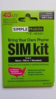 Simple Mobile SIM Card Kit • Samsung Galaxy Note 3 Note 4 Note 5 Note 8/9 - READ