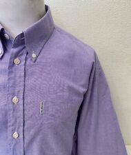 "Ben Sherman Lilac Cotton Blend Long Sleeved Button Collar Oxford Shirt -17.5"" 45"