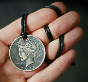 SOLID SILVER LADY LIBERTY PEACE DOLLAR COIN GOD WE TRUST CHAIN PENDANT NECKLACE