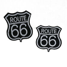 Route 66 logo Embroidered Patches Motif Trim iron on Appliques DIY Motif Craft