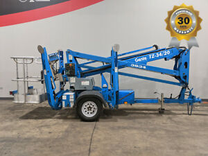 2013 GENIE TZ34 TOWABLE ARTICULATING BOOM LIFT W/ JIB ELECTRIC ON-BOARD CHARGER