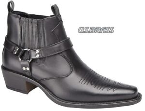 Mens Western Cowboy Boots US Brass Cuban Heel Pull On Black Ankle Sizes 6-12 UK