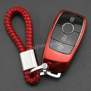 For Mercedes-Benz CLS/GLB/GLC/GLE/GLA Red TPU Smart Key Fob Case Cover Chain