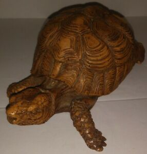 Lifelike Brown Turtle or Tortoise Resin Figurine Statue Indoor Outdoor Decor