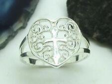 Herz Kreuz 925 Silber Ring Damenring offenes Design