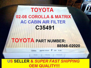 FOR 03-08 TOYOTA COROLLA MATRIX CABIN AIR FILTER OEM GRADE Perfect Fit Guarantee