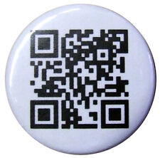 "Personalised QR Code 25mm badge. Small 1"" Badges. Facebook, Web or text target."