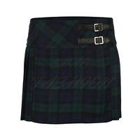 Ladies Womens Tartan Pleated Billie Kilt Skirt Leather Buckled Straps UK 6-16
