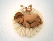 Edible ivory daisy flower & baby + butterfly Christening cake decoration topper
