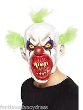 Halloween EVIL Sinister CLOWN COMPLETO Overhead & Green CAPELLI Mask Fancy Dress
