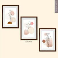 Floral Line Art Prints, Set of 3 Modern Abstract Home Wall Decor Blush Minimal