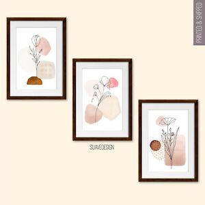 Floral Line Art Prints, Set of 3 Modern Abstract Home Wall Decor Blush Minimal