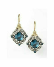 925 Silver Sapphire Earrings 18K Gold Filled Ear Hook Dangle Women Jewelry Gift