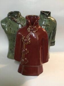 "Original Set of 3 Vases Chinese Dresses Design Ceramic Burgundy Green Color 11"""