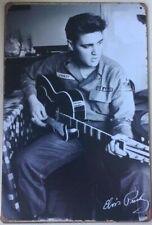 CLASSIC ELVIS PRESLEY IN ARMY UNIFORM PLAYING GUITAR RUSTIC  EMBOSSED METAL SIGN