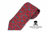 Lord R Colton Oxford Tie - Red Paisley Linen & Cotton Necktie - $95 Retail New