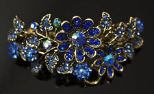 New Antique Gold Tone Flower Rhinestone blue Color Hair Clip Barrette nov 3