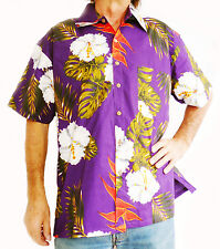 "LOUD Hawaiian shirt, purple with Hibiscus flowers, M, 50"" stag night holiday"