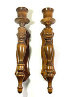 """2 Vintage Wooden Candleabra Candle Stick Wall Holders Home Decor Accent 16"""""""