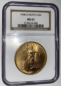 1908 D WITH Motto NGC MS63 $20 Denver Mint Saint Gaudens Gold Double Eagle