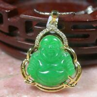 Yellow Gold Plate Green JADE Pendant Buddha Necklace Diamond Imitation 100001