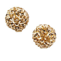 1980s Large Gold Tone Statement Disc Sequence Beaded Button Clip On Earrings
