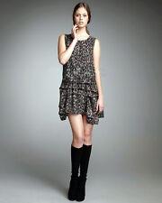 $355 Theory Rikina Flame Printed Silk Chiffon Sleeveless Dress