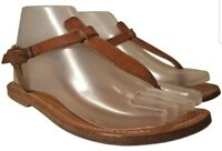 K JACQUES  WOMAN SANDALS THONGS BROWN LEATHER SIZE EUR 37/ US 7